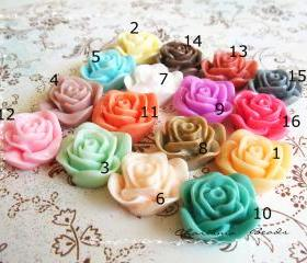12 Mixed colors -you choose the color and how many- Resin Roses Cabochons Flower Accessory 22x22x12mm