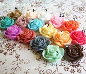 42 Mixed colors -you choose the color and how many- Resin Roses Cabochons Flower Accessory 22x22x12mm