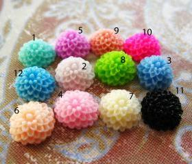12 Mixed colors -you choose the color and how many- Resin Chrysanthemum Mum Flower Cabochons Accessory 10x4.5mm