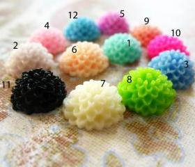 16 Mixed colors -you choose the color and how many- Resin Chrysanthemum Mum Flower Cabochons Accessory 10x4.5mm