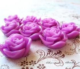 18 Resin Roses Cabochons Flower Accessory 22x22x12mm