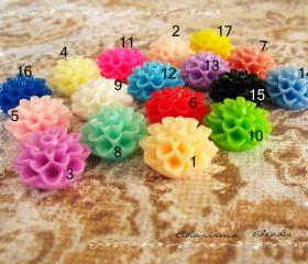 30 Mixed colors -you choose the color and how many- Resin Chrysanthemum Flower Cabochons Accessory 15x8mm
