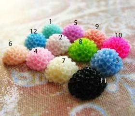 20 Mixed colors -you choose the color and how many- Resin Chrysanthemum Mum Flower Cabochons Accessory 10x4.5mm