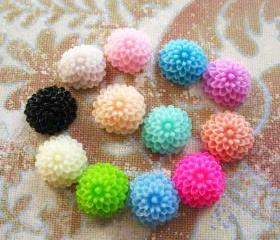 30 Mixed colors -you choose the color and how many- Resin Chrysanthemum Mum Flower Cabochons Accessory 10x4.5mm