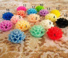  20 Mixed colors -you choose the color and how many- Resin Chrysanthemum Flower Cabochons Accessory 15x8mm