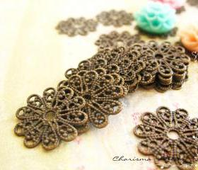 36 Brass Vintage Filigree Caps - Connectors Findings Flower, 17mm
