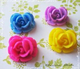 20 Mixed colors -you choose the color and how many- Resin Roses Cabochons Flower Accessory 18x17x8mm