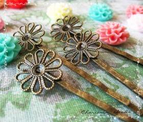 36 Filigree Bobby Pins Hair ornaments Antique Bronze, Flower 2x59x2mm