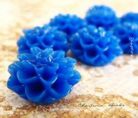 6 Resin Chrysanthemum Flower Cabochons Accessory 15x8mm