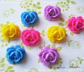 12 Mixed colors -you choose the color and how many- Resin Roses Cabochons Flower Accessory 18x17x8mm