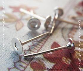24pcs/12 pairs Earstud Components -Earring Posts- Brass Head and Stainless Steel Pin, Flat Pad Head 4mm, 10mm long