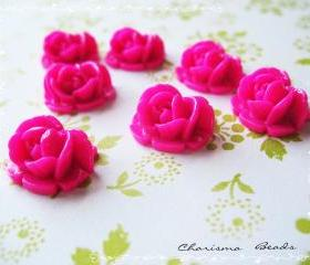 30 Resin Roses Cabochons Flower Accessory 18x17x8mm