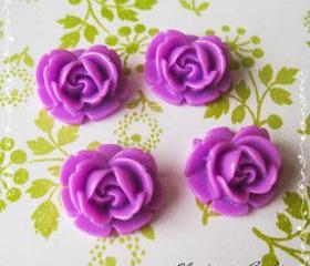 24 Resin Roses Cabochons Flower Accessory 18x17x8mm