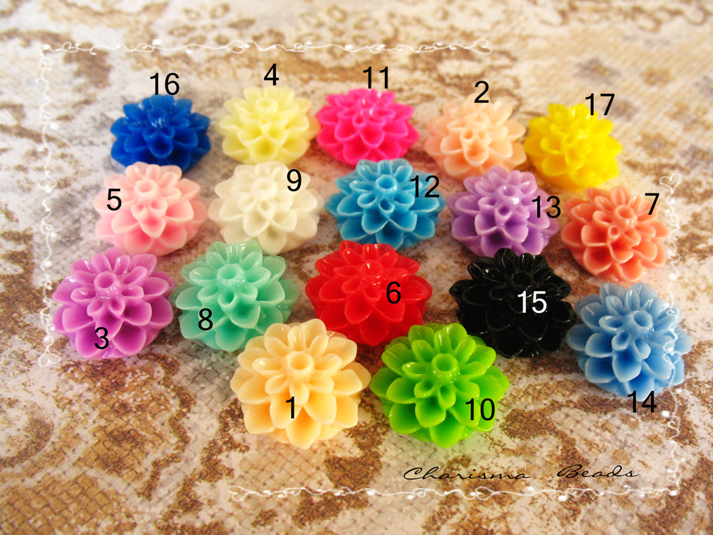 4 Mixed colors -you choose the color and how many- Resin Chrysanthemum Flower Cabochons Accessory 15x8mm