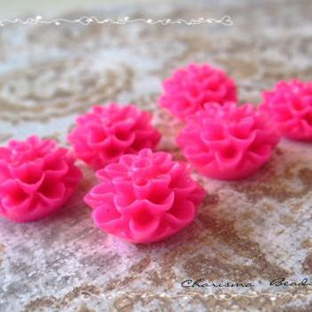42 Resin Chrysanthemum Flower Cabochons Accessory 15x8mm