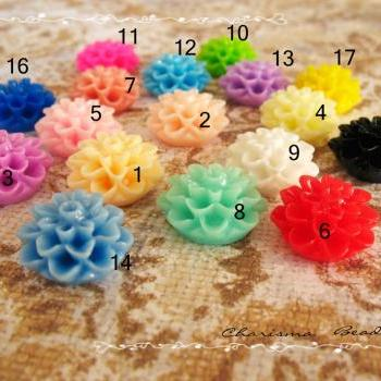8 Mixed colors -you choose the color and how many- Resin Chrysanthemum Flower Cabochons Accessory 15x8mm
